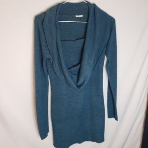 Teal cowl neck fooler sweater dress med